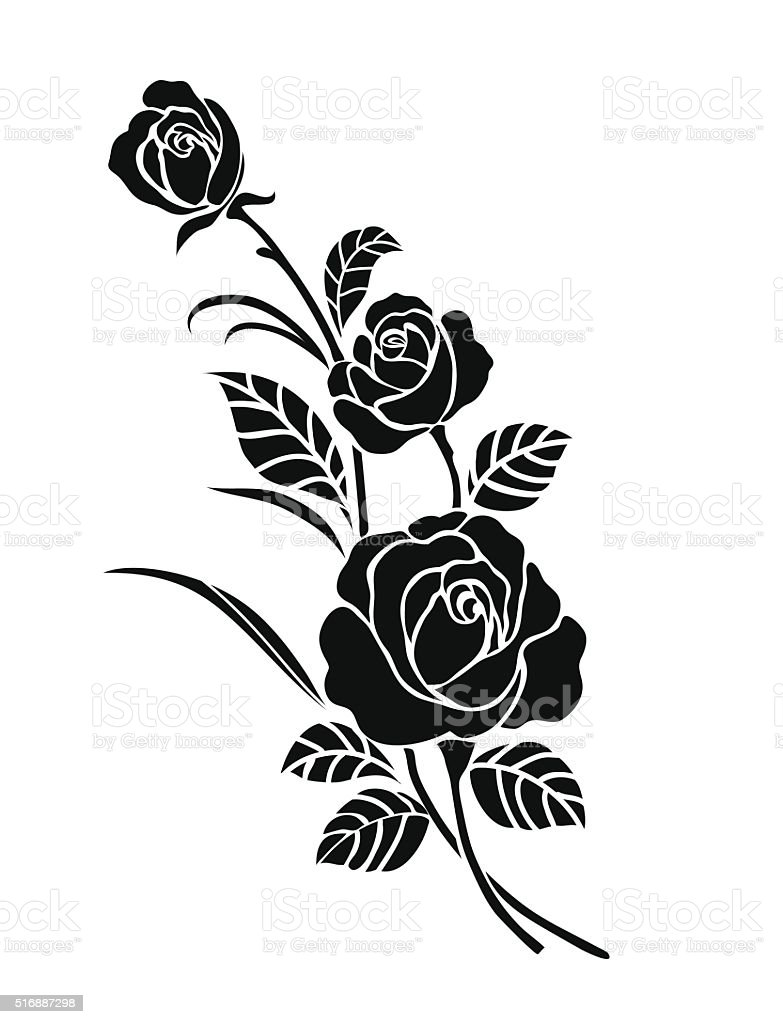 Rose motif for design. vector art illustration