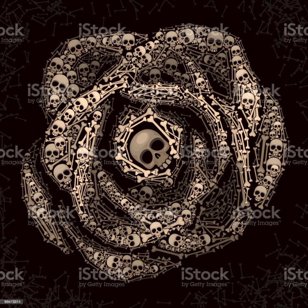 Rose of skulls and bones royalty-free stock vector art