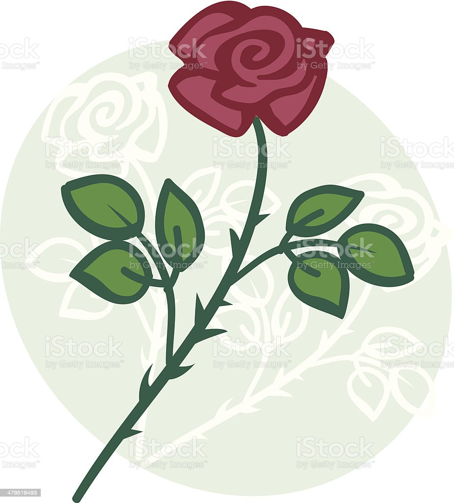 Rose on pale green oval background royalty-free stock vector art