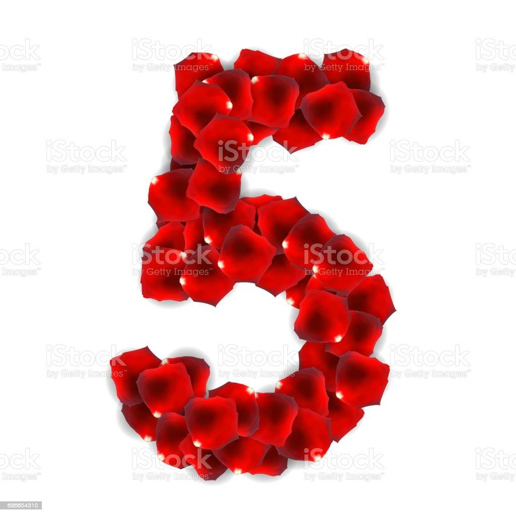 Rose Petals Realistic Number Vector Illustration vector art illustration