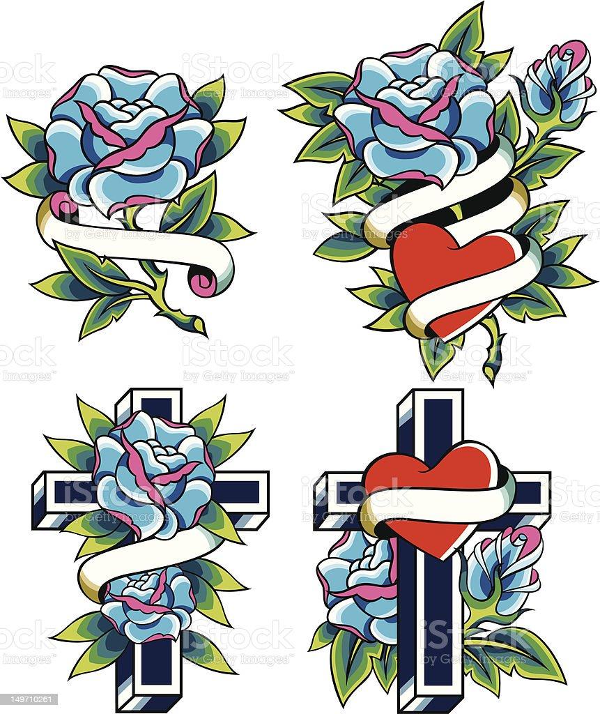 rose religione tatuaggio disegno illustrazione royalty-free