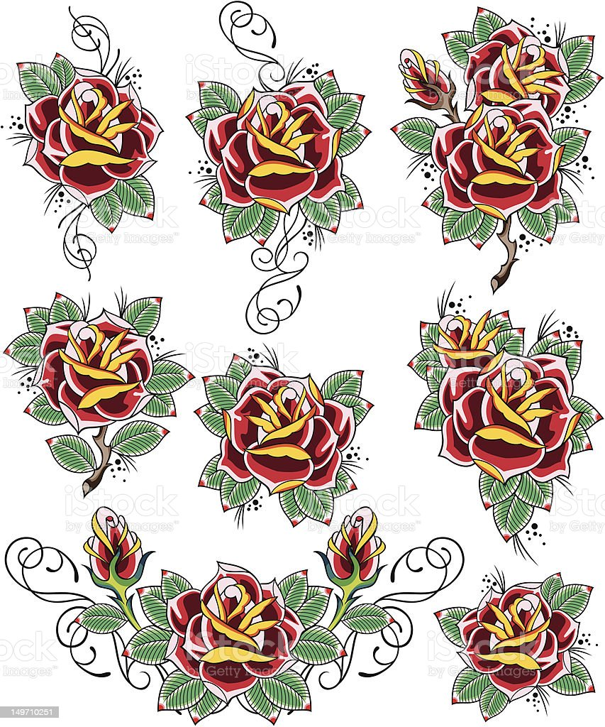 rose tatuaggio design illustrazione royalty-free