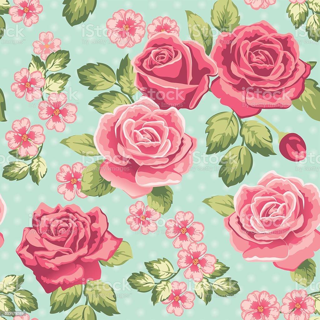 Rose wallpaper on a blue background vector art illustration