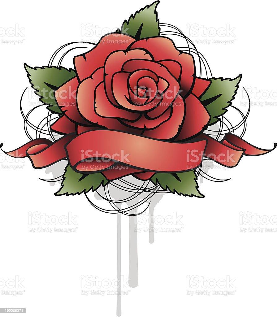 Rose With Banner vector art illustration