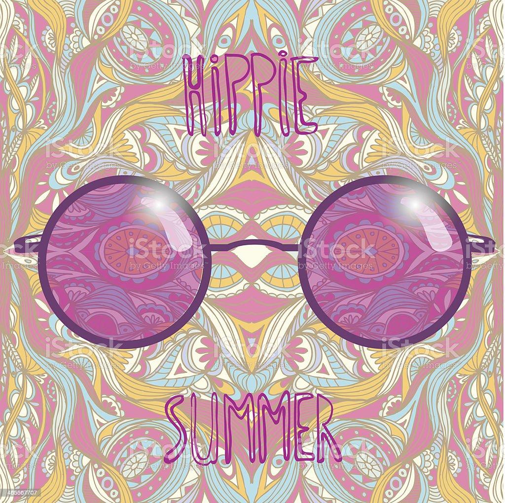 Rose-colored spectacles hippie sun glasses. vector art illustration