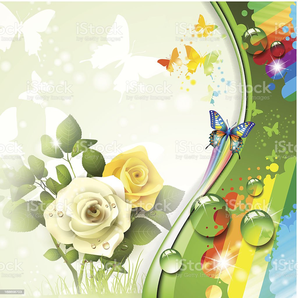 Roses and butterflies royalty-free stock vector art