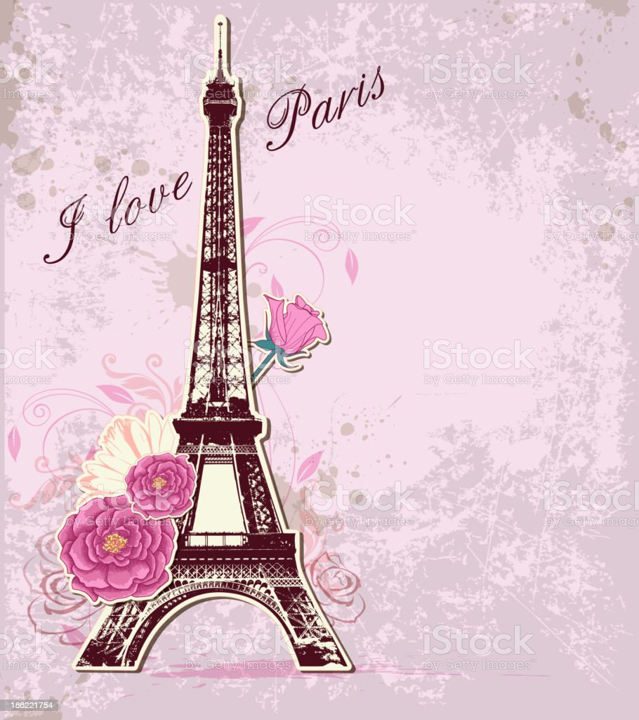 Roses and  Eiffel tower royalty-free stock vector art