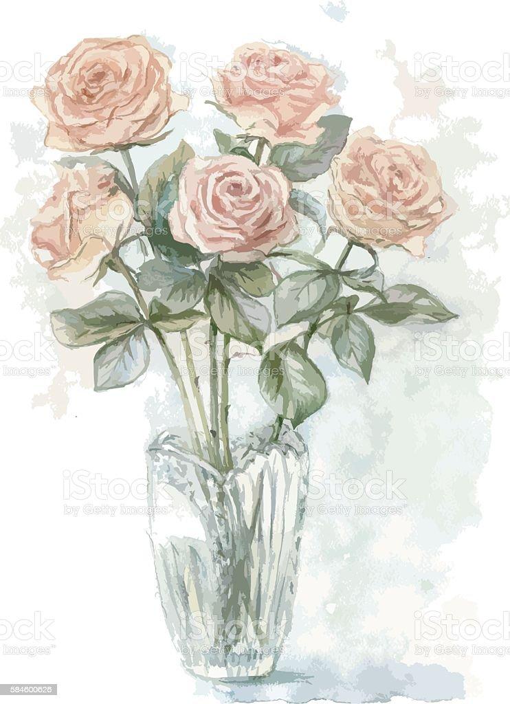 Roses bunch in the vase vector art illustration