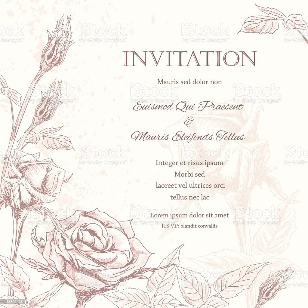 Roses Floral Wedding Invitation Background royalty-free stock vector art