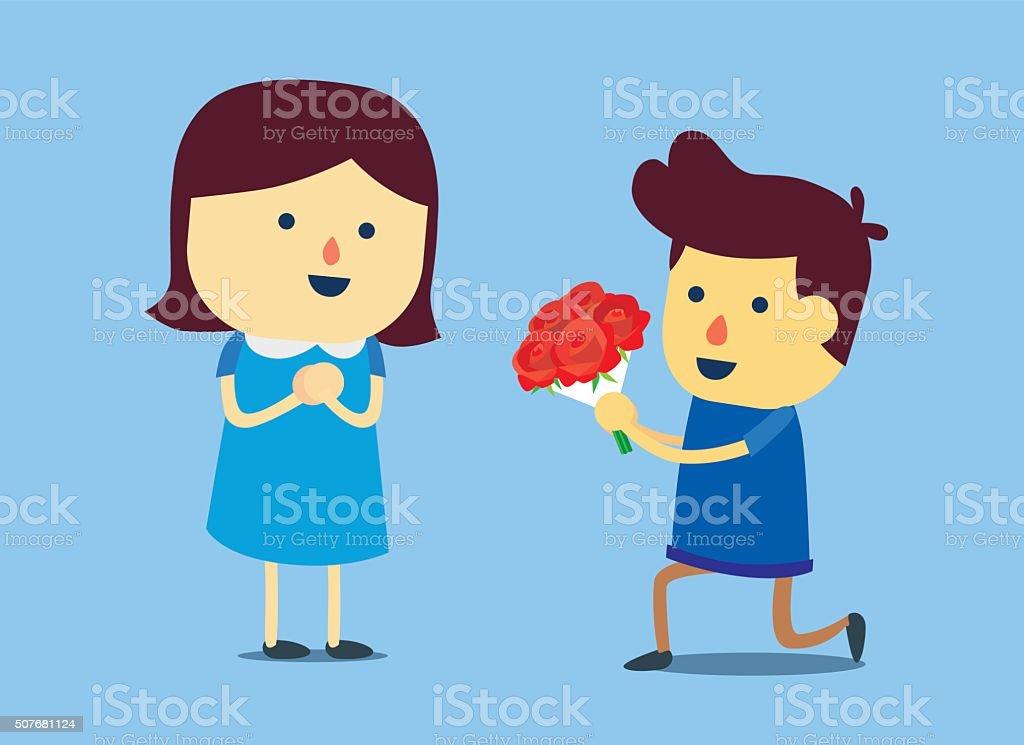 Roses for girlfriend vector art illustration