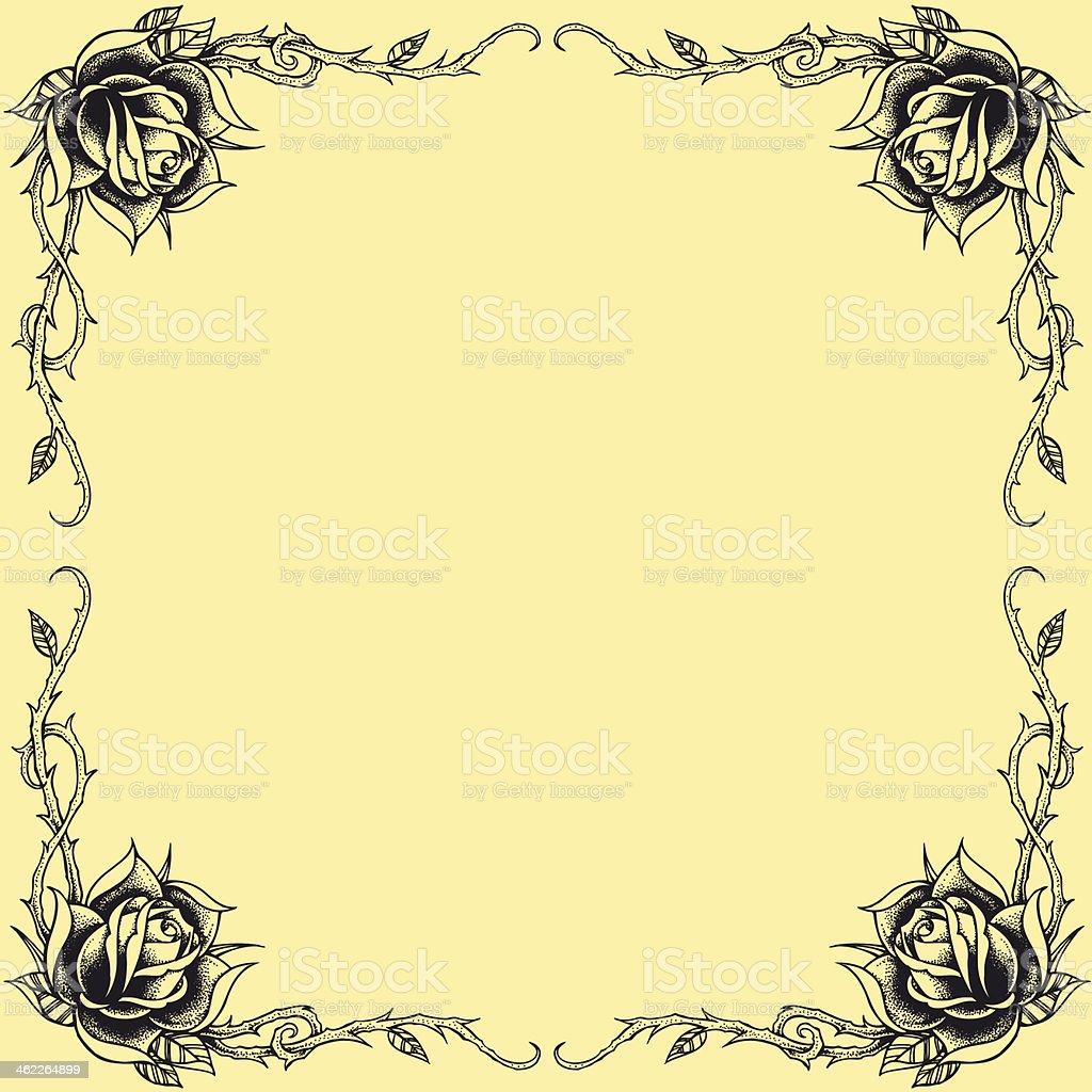 Roses frame oldskool Tattoo style design royalty-free stock vector art