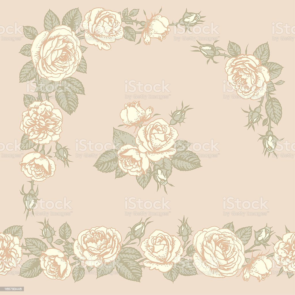 Roses. Horizontal seamless pattern, corners and clip art. vector art illustration