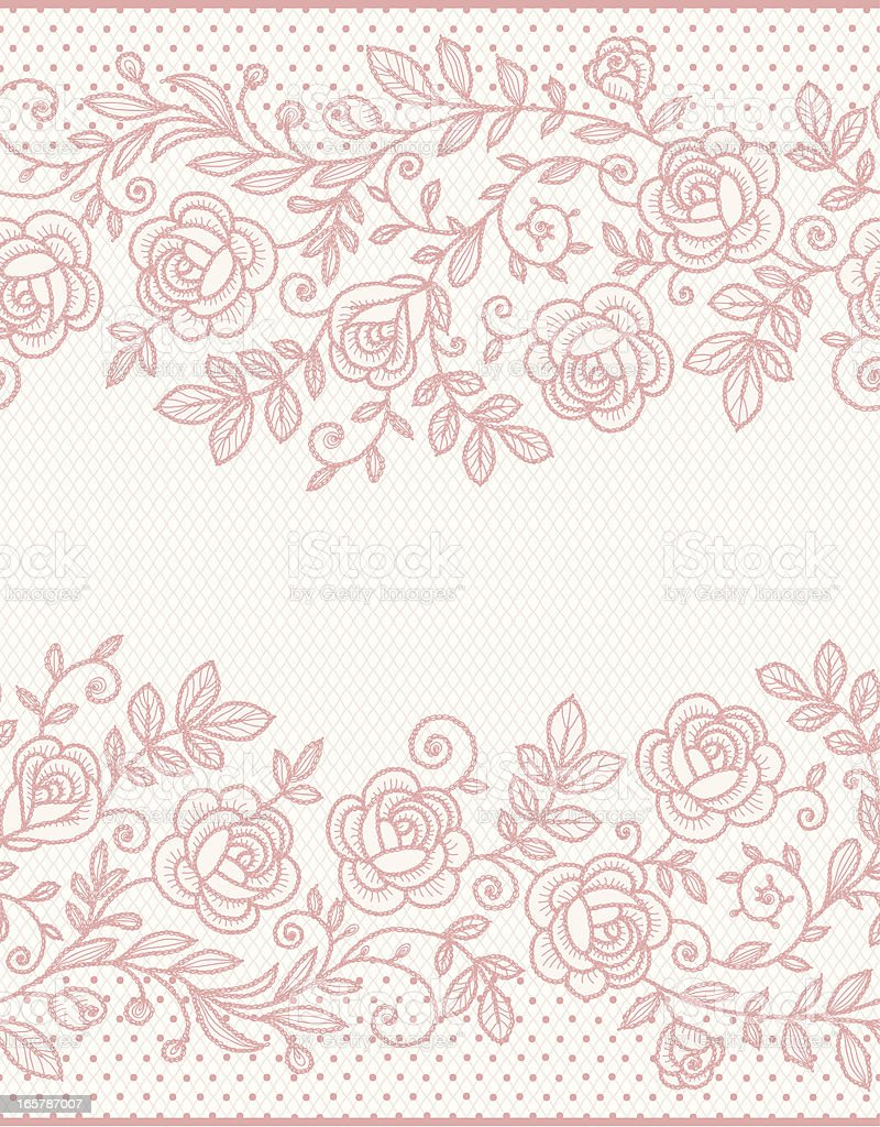 Pink seamless lace vector art illustration