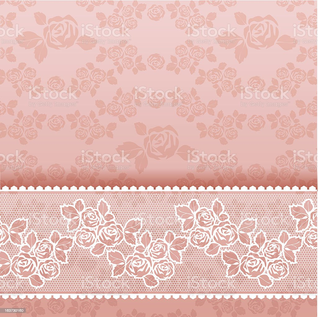 Roses on background, Square lace pink royalty-free stock vector art