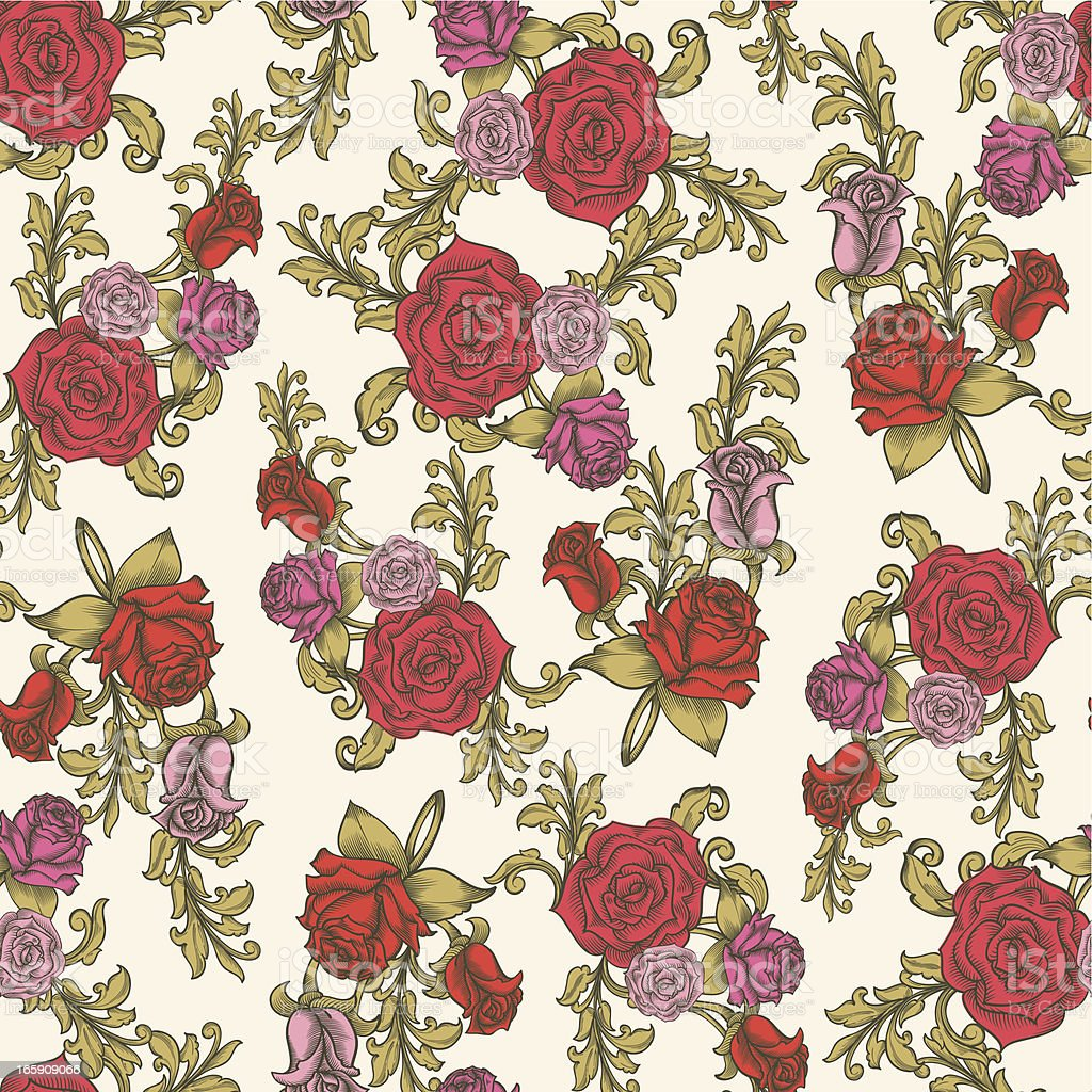 Roses seamless pattern royalty-free stock vector art