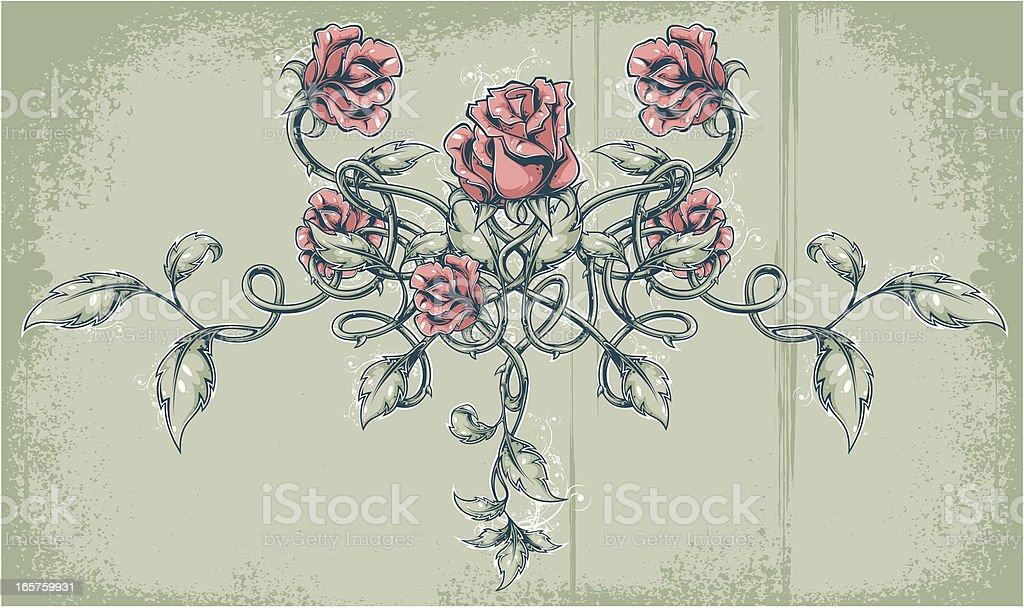 roses tattoo vector art illustration