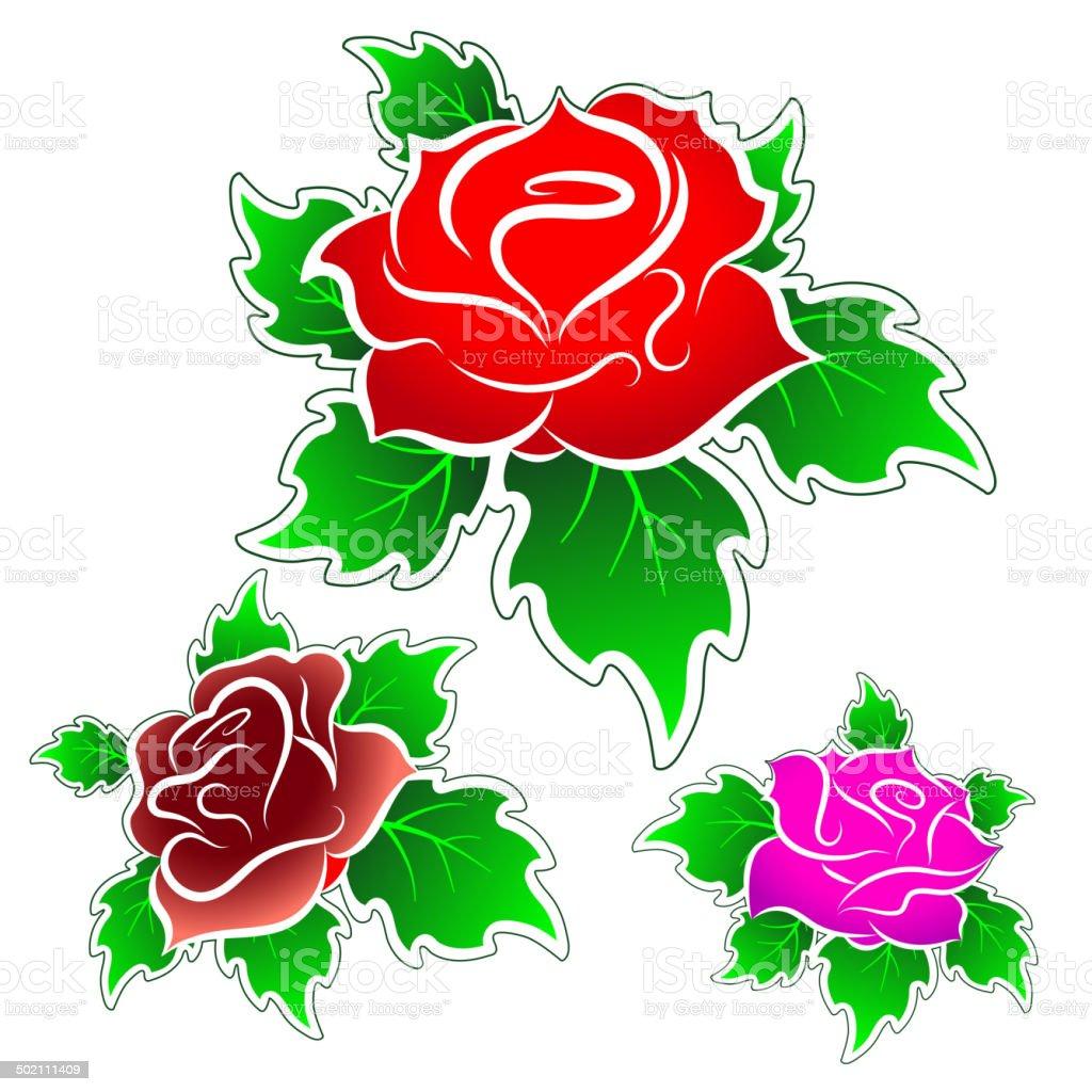 roses, vector set vector art illustration