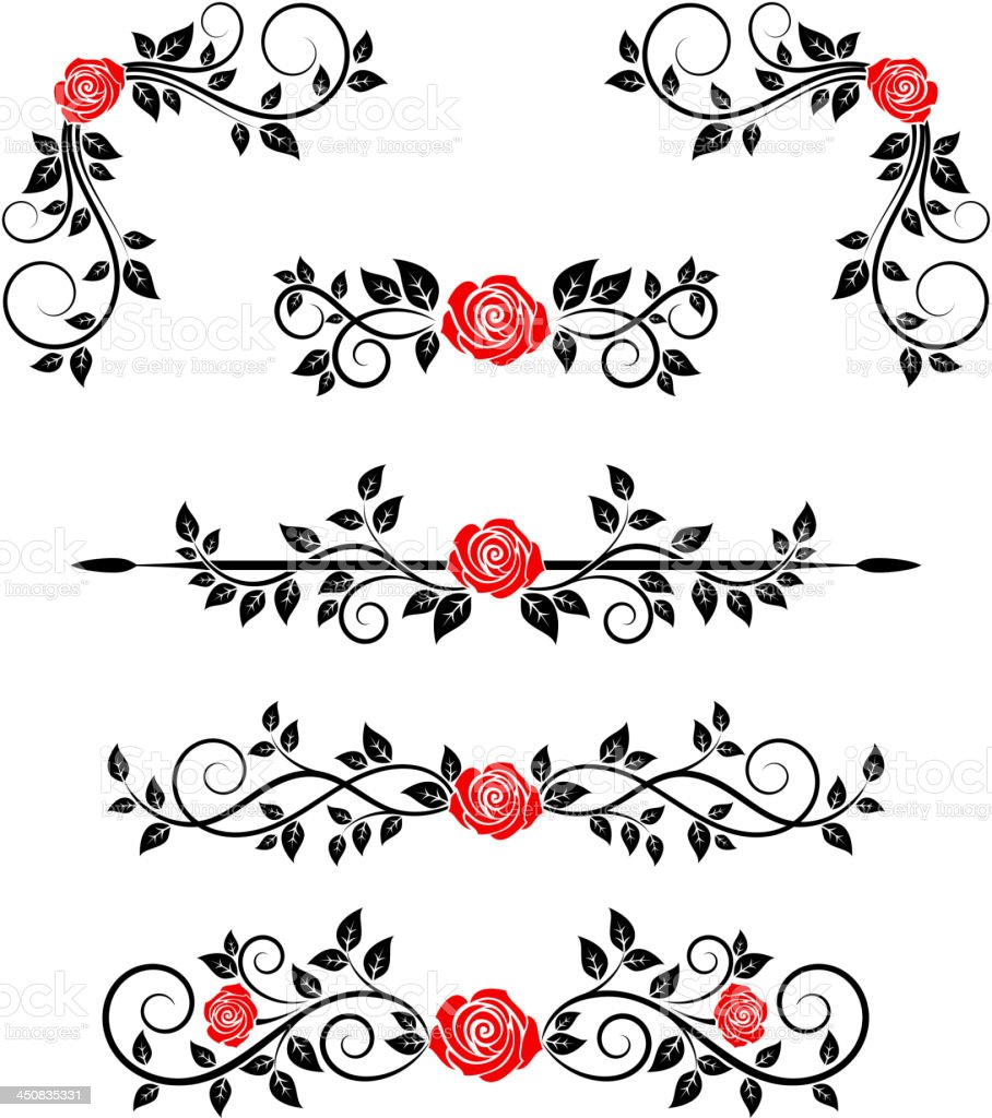 Roses with floral embellishments royalty-free stock vector art