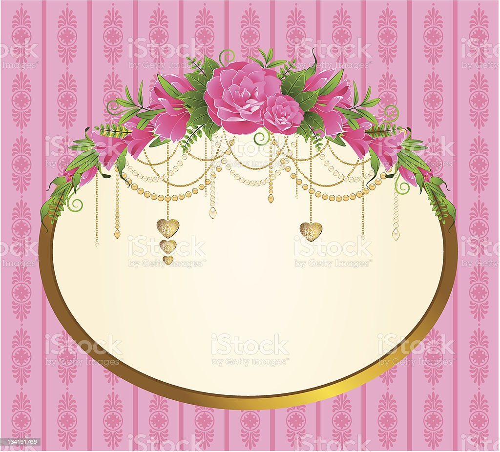 Roses with lace ornaments on background. Vector royalty-free stock vector art