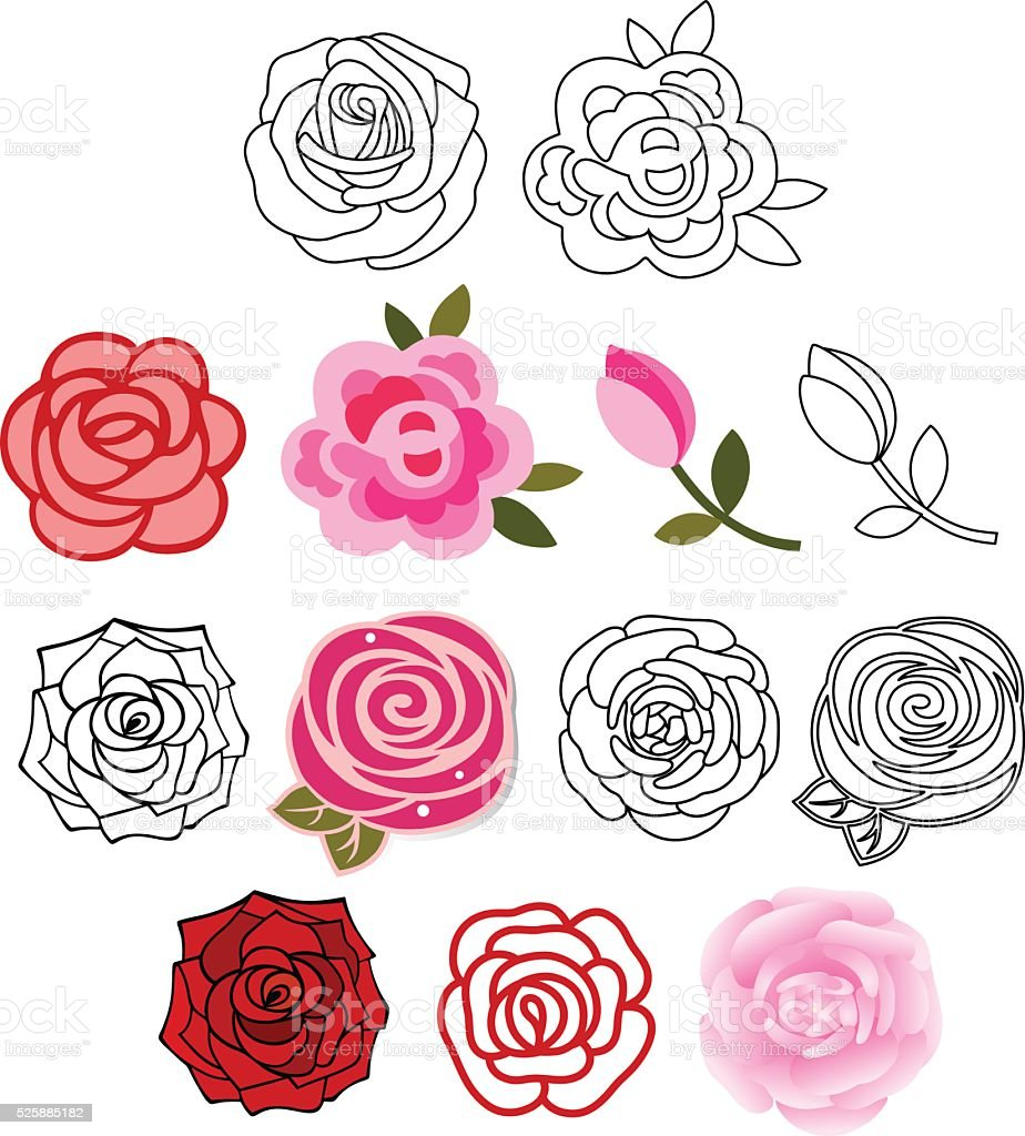 Roses with leaves set vector art illustration