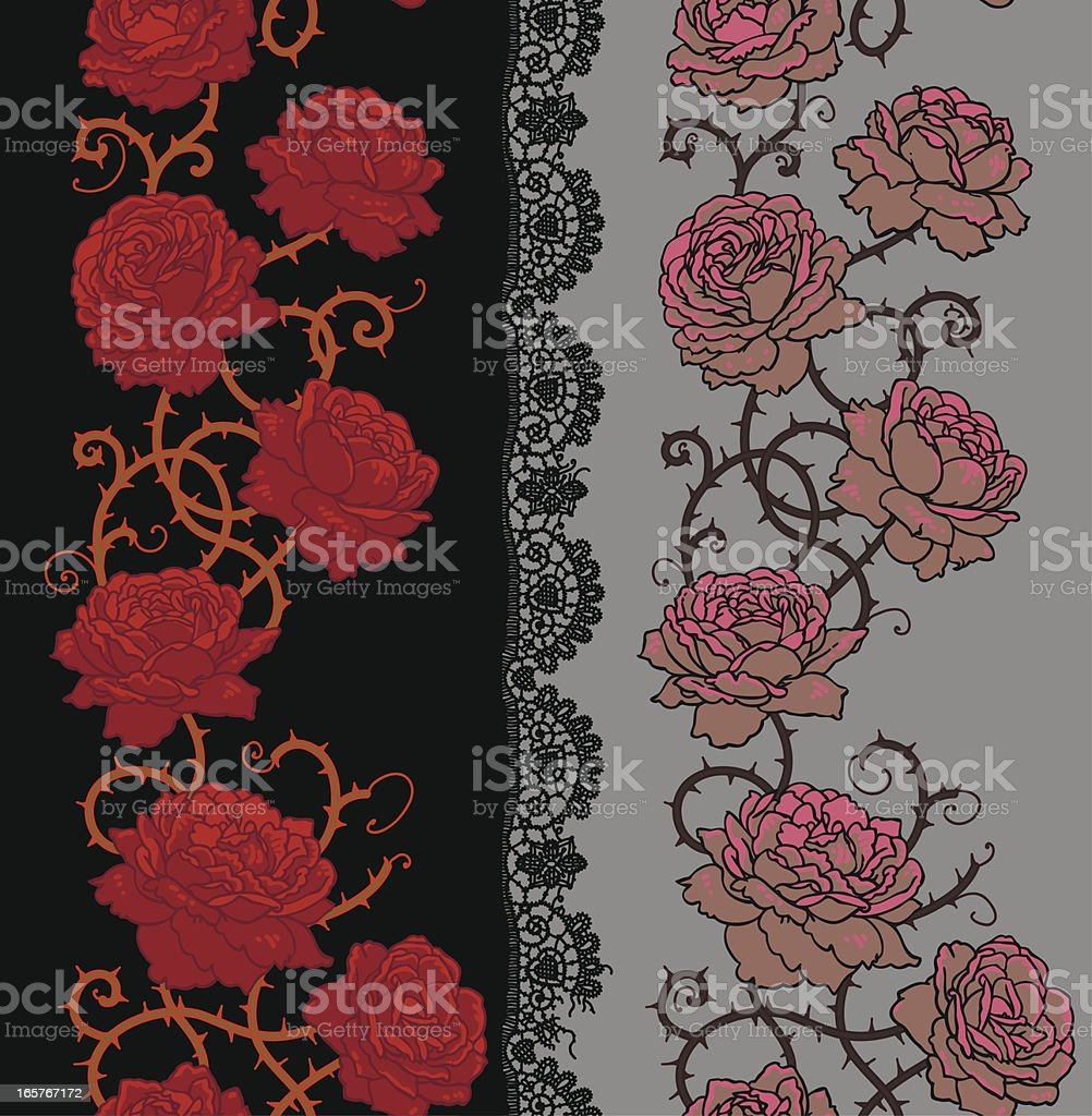Roses with stems and thorns Vertical seamless pattern. royalty-free stock vector art