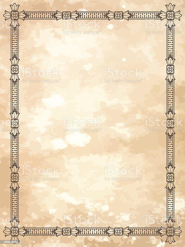 Rosette Border Grunge frame on parchment royalty-free stock vector art