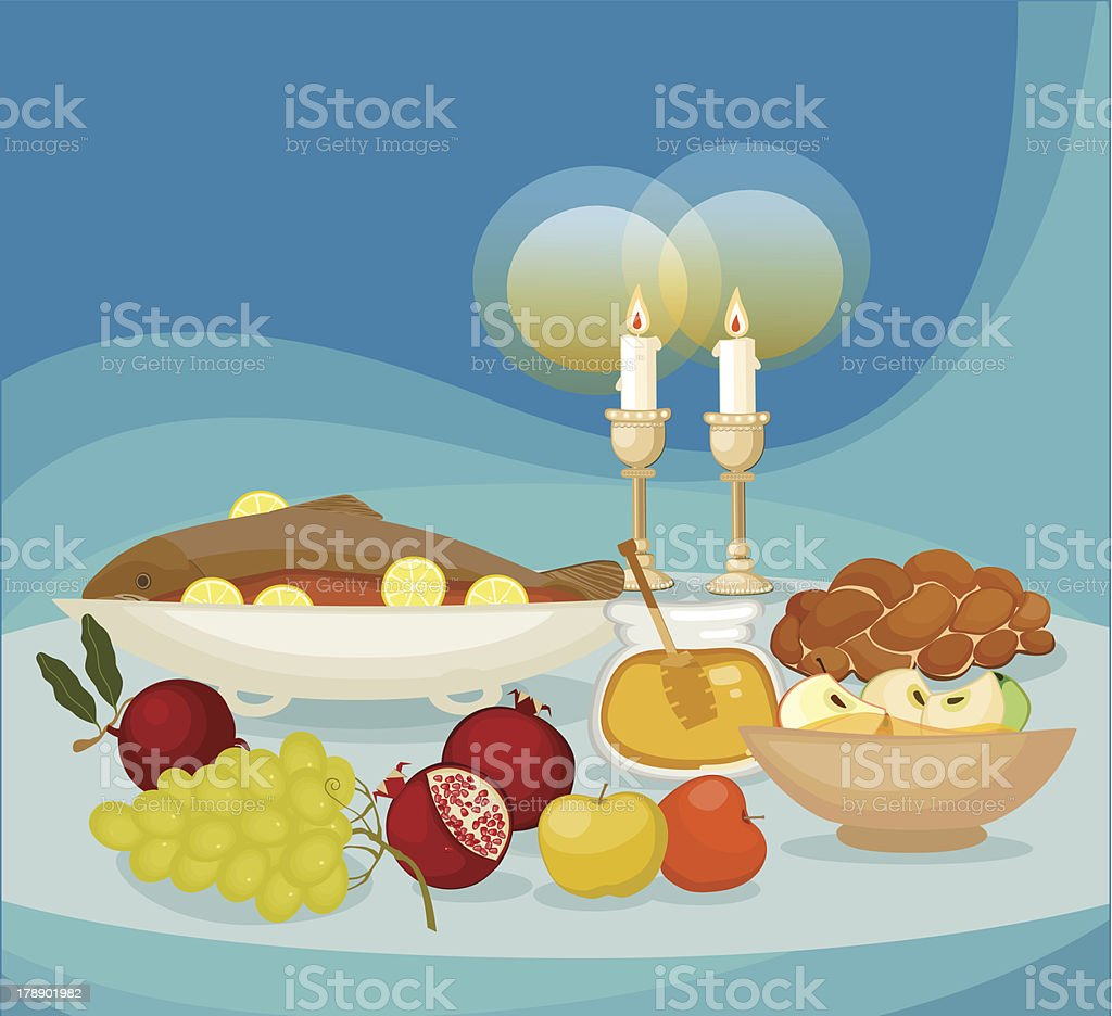 Rosh HaShana Meal, vector art illustration