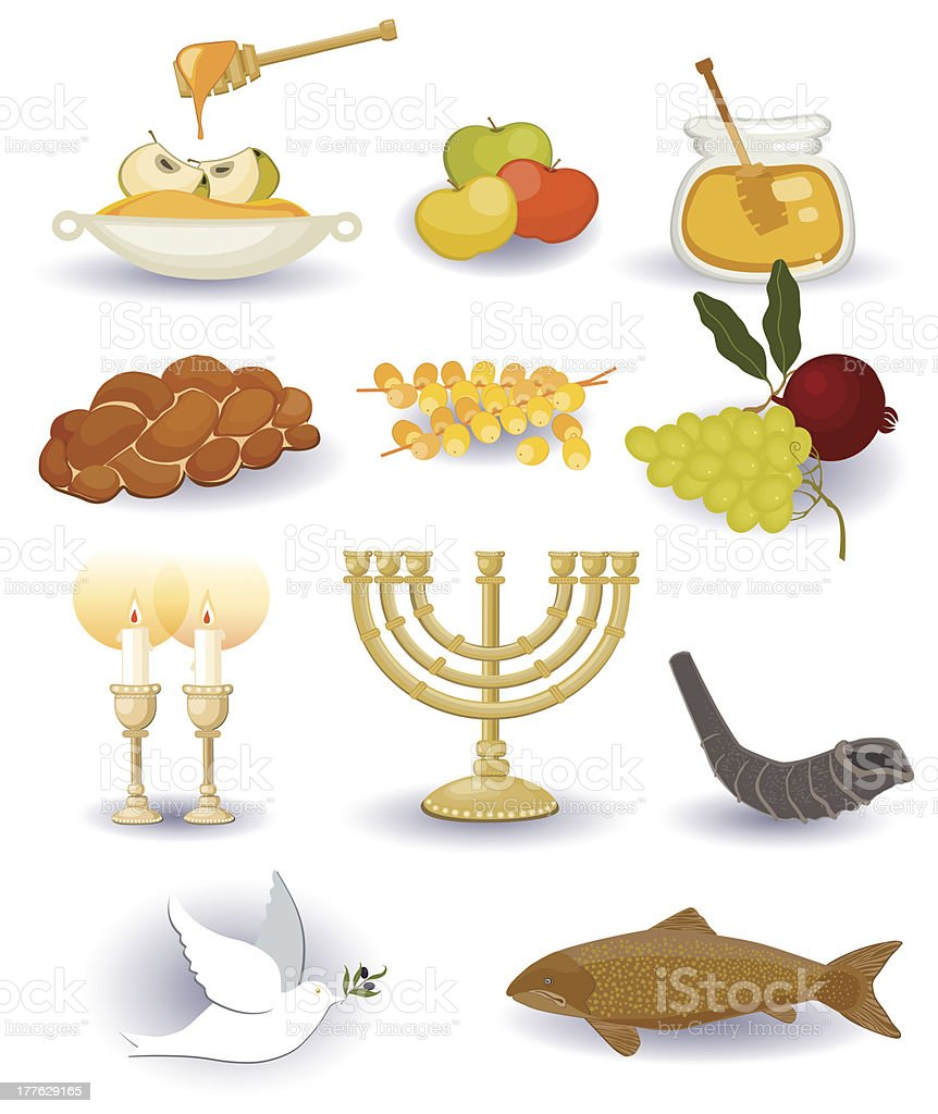 Rosh HaShana Set vector art illustration