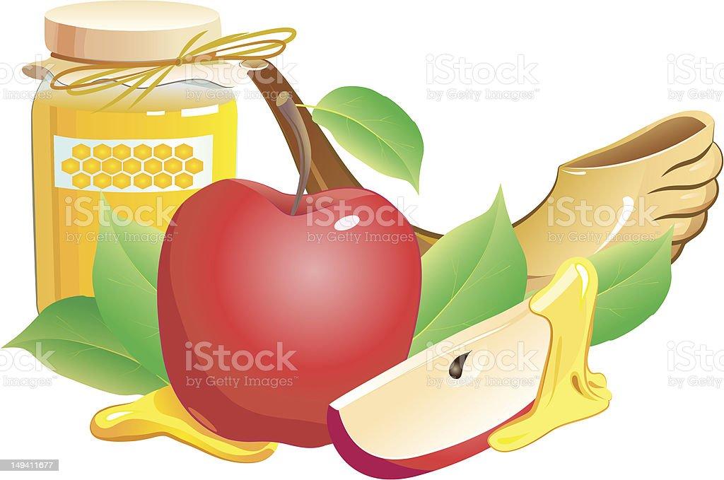 rosh hashana traditional still life. apple, honey and shofar royalty-free stock vector art