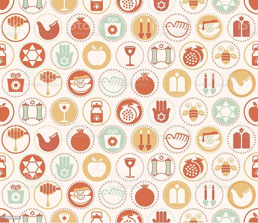 Rosh Hashanah Circles Seamless Pattern royalty-free stock vector art