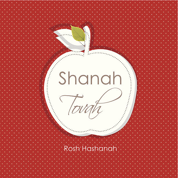 Apple greeting cards clip art vector images illustrations istock rosh hashanah greeting card white apple paper on red background vector art illustration m4hsunfo