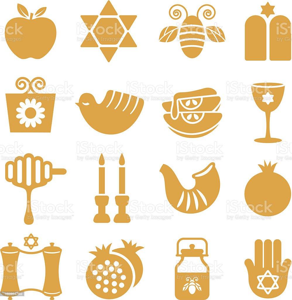 Rosh Hashanah - Icons Set royalty-free stock vector art