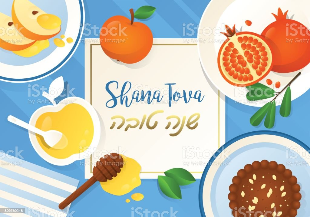 Rosh hashanah jewish holiday banner design with apple, honey and pomegranate. Flat lay style vector art illustration