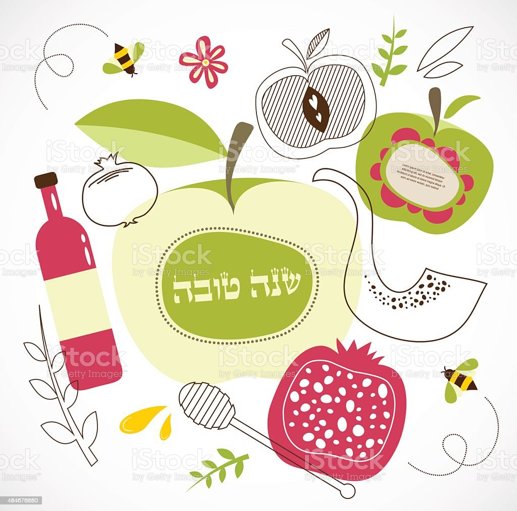 rosh hashanah -jewish holiday. traditional holiday symbols vector art illustration