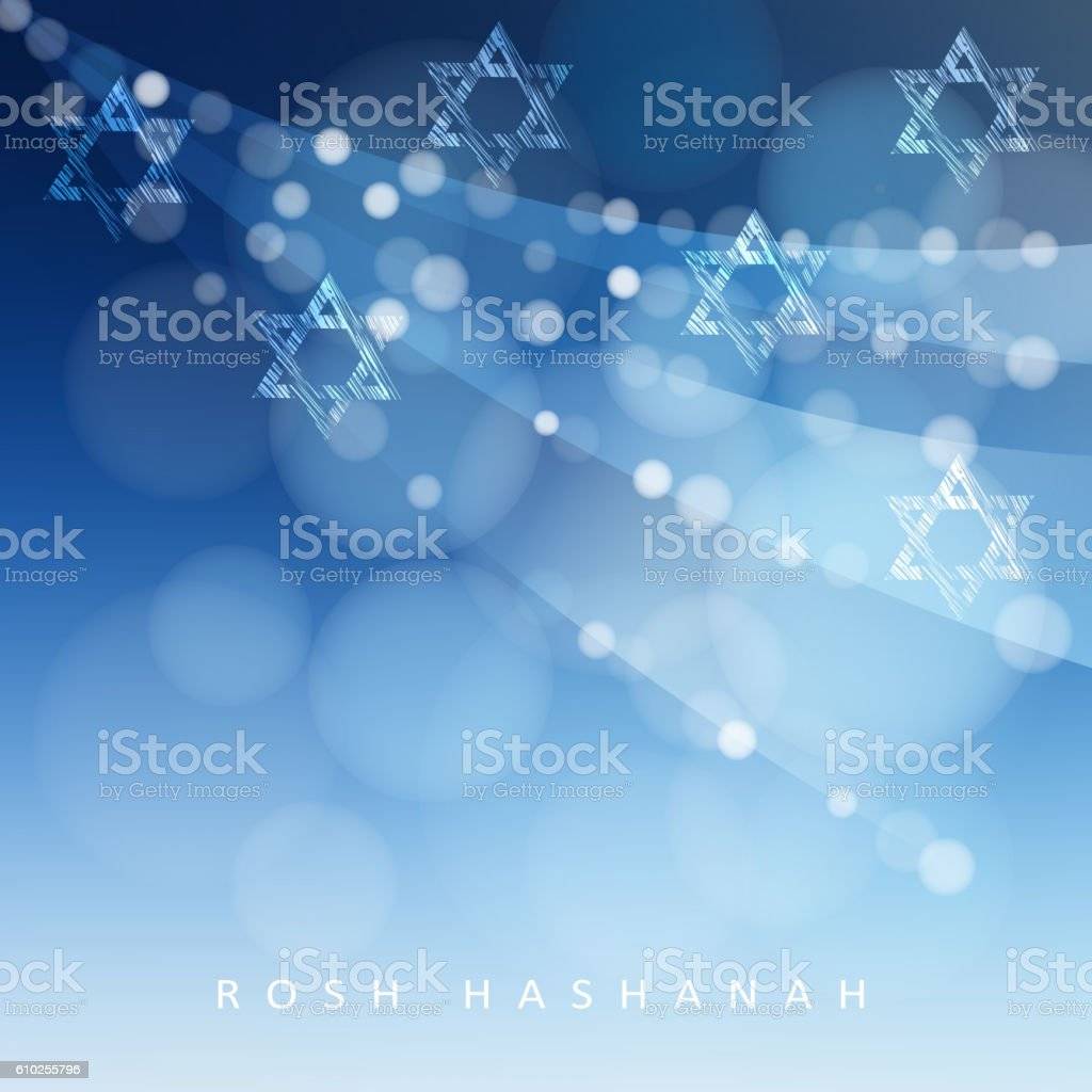 Rosh Hashanah, Jewish New Year holiday, Hannukah greeting. Jewish stars. vector art illustration