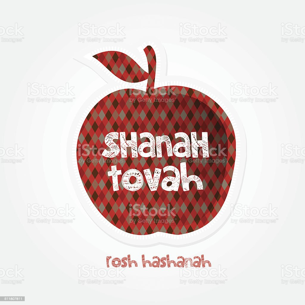 rosh hashanah red apple ornament design isolated on white background vector art illustration