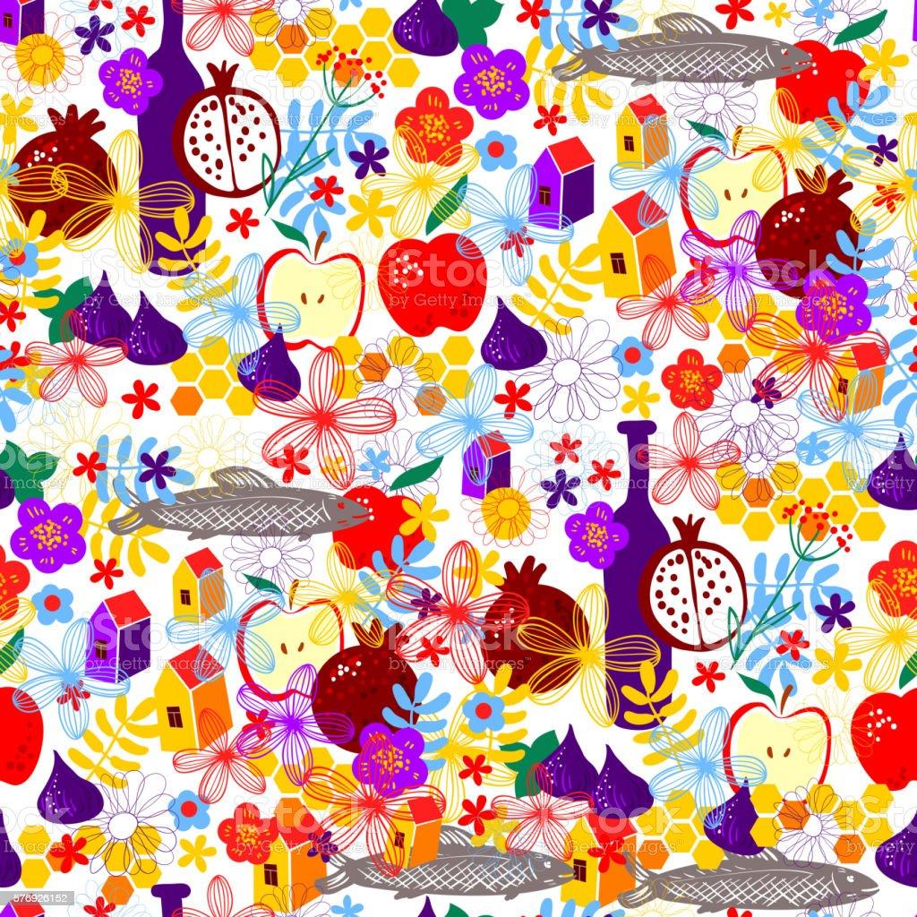 Rosh Hashanah seamless holiday pattern vector art illustration