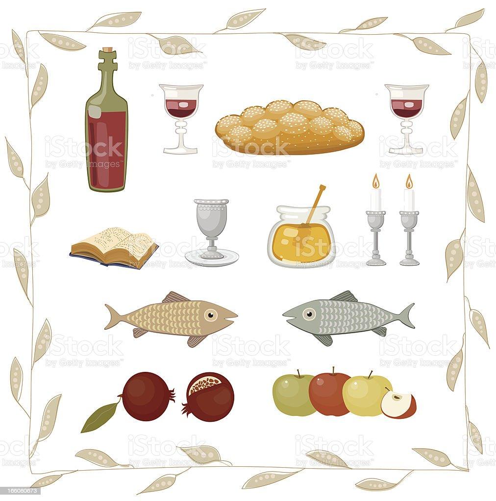 Rosh HaShanah Symbols Set vector art illustration