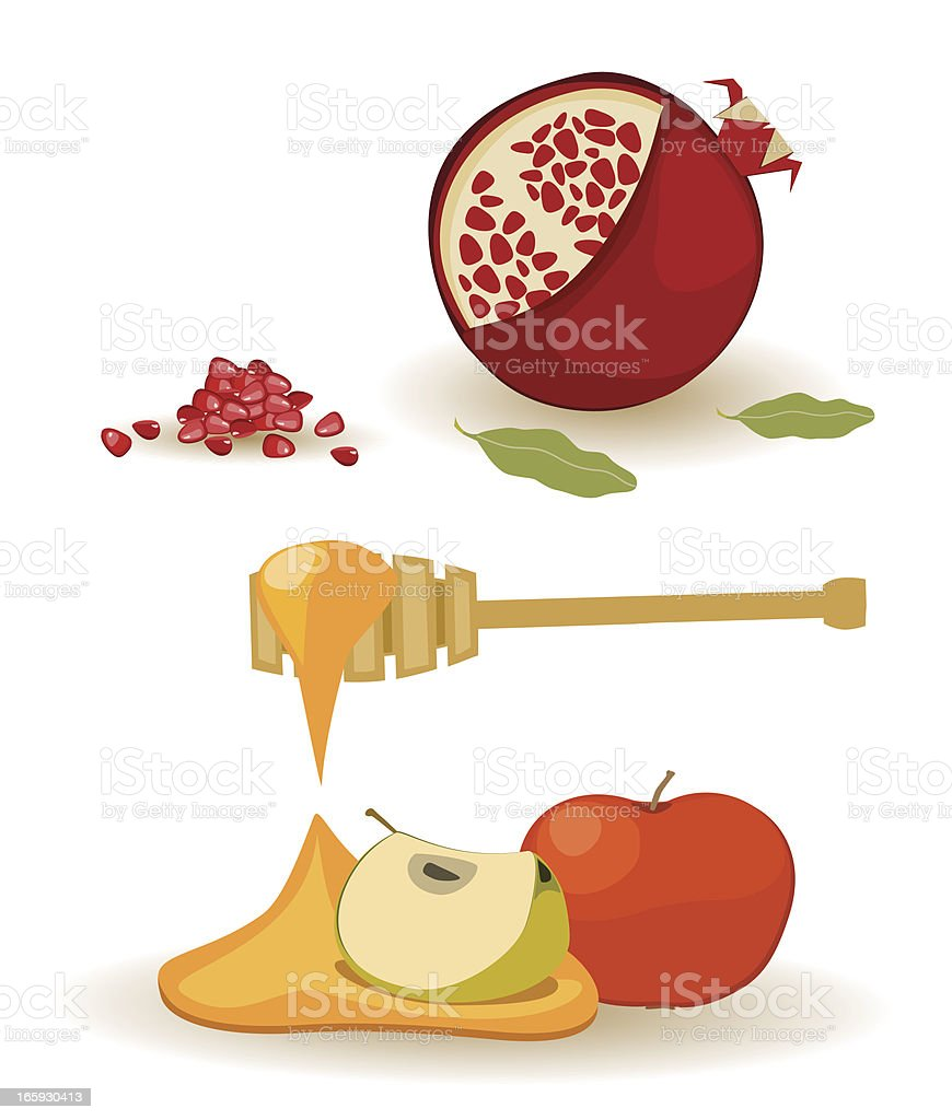Rosh HaShanah Symbols vector art illustration