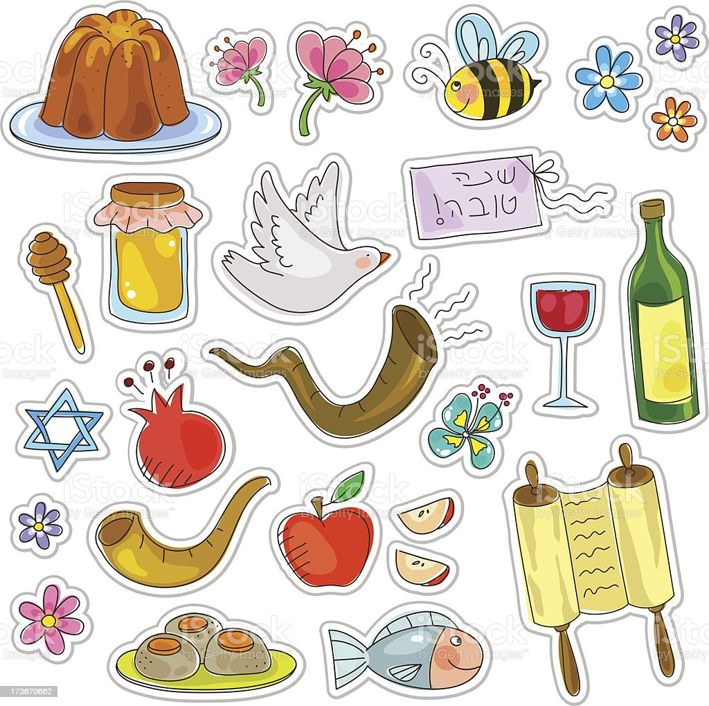 rosh hashanah symbols royalty-free stock vector art