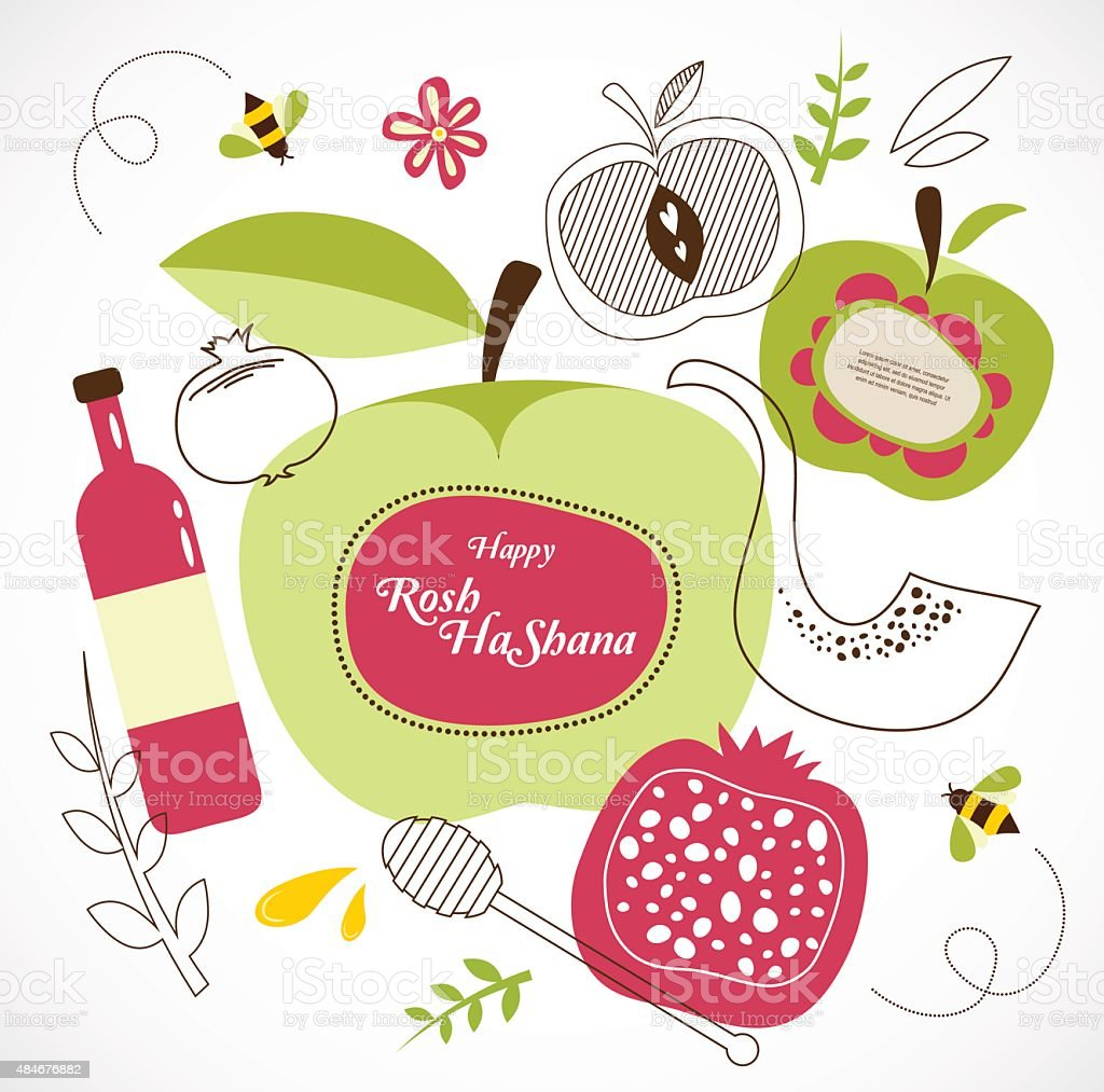 rosh hashanah-jewish holiday . traditional holiday symbols vector art illustration