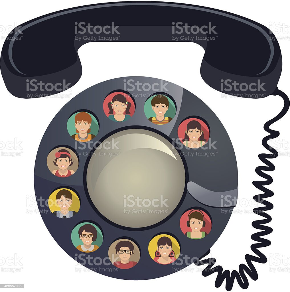 Rotary dial phone depicting a conference call vector art illustration