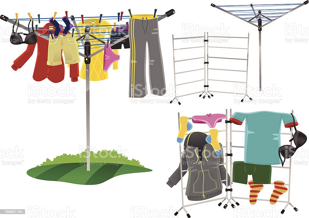 Rotary drier and clothes horse vector art illustration
