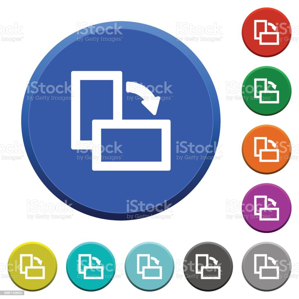Rotate right beveled buttons vector art illustration