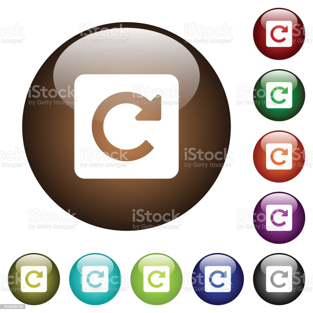 Rotate right color glass buttons vector art illustration
