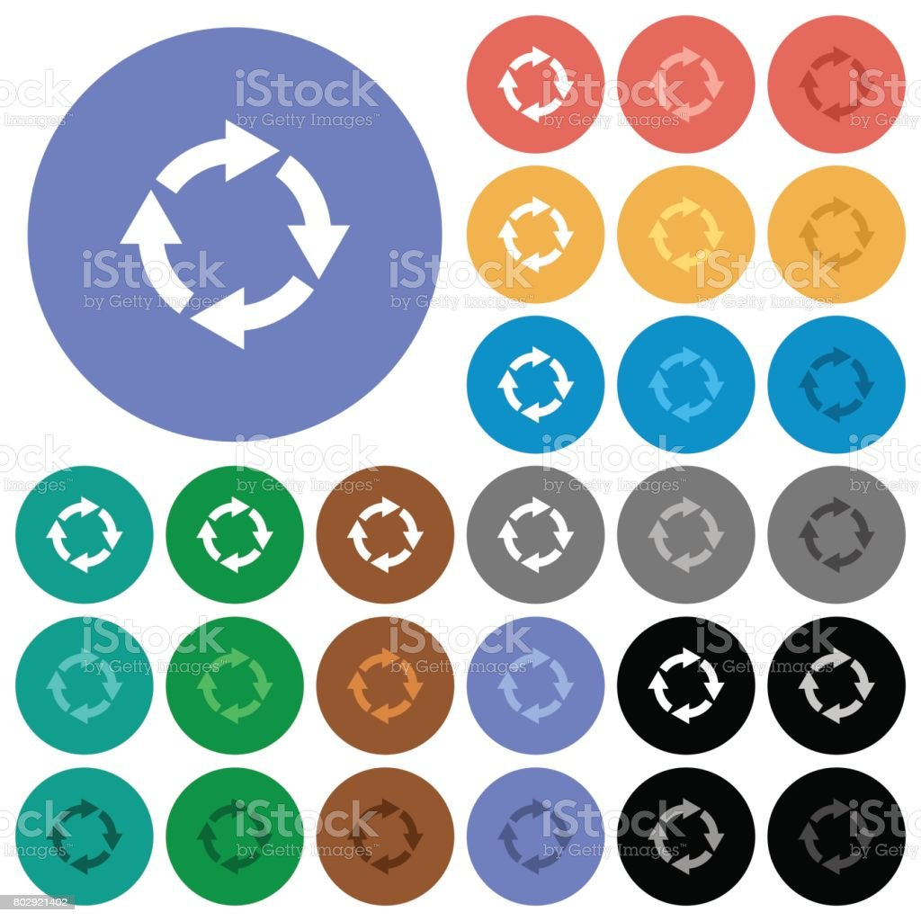 Rotate right round flat multi colored icons vector art illustration