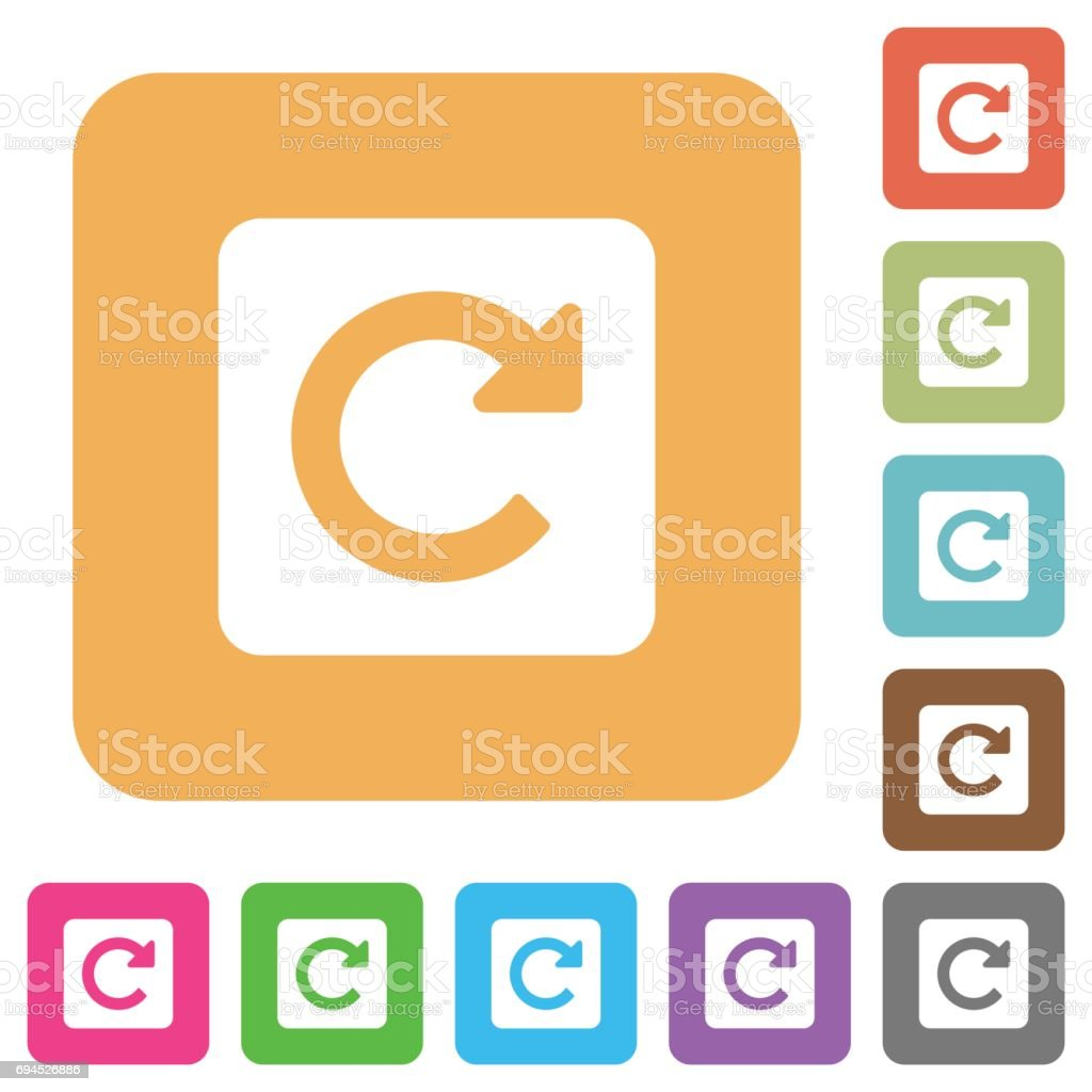 Rotate right rounded square flat icons vector art illustration