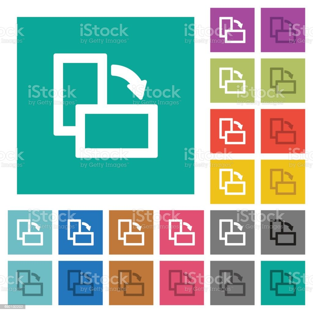 Rotate right square flat multi colored icons vector art illustration