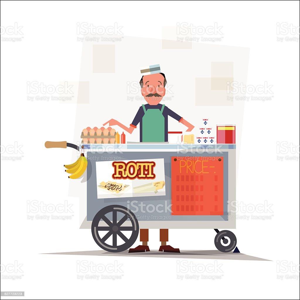 roti seller with cart - vector illustration vector art illustration