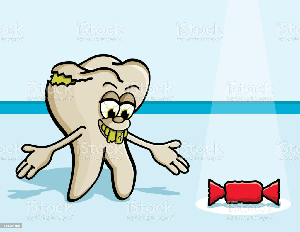Rotten tooth character royalty-free stock vector art